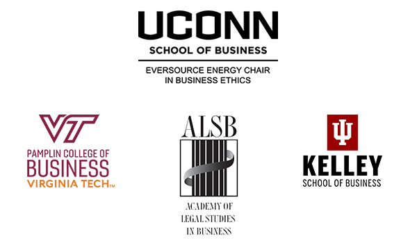 Logos for UConn School of Business, Virginia Tech Pamplin College of Business, Academy of Legal Studies in Business and Kelley School of Business