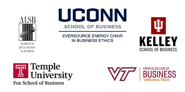 Logos for UConn School of Business Eversource Energy Chair in Business Ethics Indiana Kelley School of Business Virginia Tech Pamplin College of Business Center for Business Analytics Temple University Fox School of Business and the Academy of Legal Studies in Business